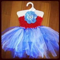 Tutu Dress - extra shaggy red white & blue