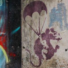 Parachuting 🐀 | Theme: Public Artworks #graffiti #streetart #art #color #colorful