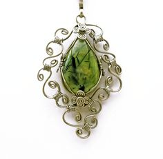 WOW again...    Wire Wrap Necklace with Prehnite stone by *hyppiechic on deviantART