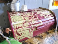 Cream Maroon Painted Roll Top Bread Box by SnapdragonScullery.