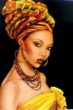 mujer africana con turbante pintura - Buscar con Google