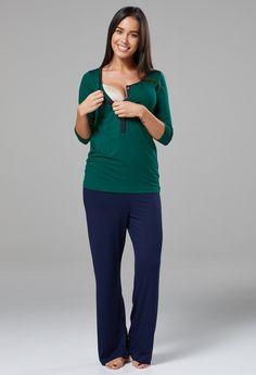 d389ad0722 Hunter Green   Navy Button Front Nursing Pajama Pant Set - milk   baby  Nursing Pajama