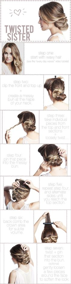 Best thing is; it's easy to do, gorgeous and keeps your hair out of your way for the night. I made this a printable tutorial, so all of the steps are next to the photos. Enjoy!  Tools you'll need: curling iron (to prep the hair with waves), sectioning clips, teasing comb or brush, clear elastic rubber band, bobby pins, light to medium holding hairspray (to mist over at the end).
