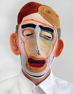 In his ongoing mask series, Dutch designer Bertjan Pot creates contemporary renditions of folkloric masks by stitching together thin strands of colored rope, giving the human face new textures that… Textiles, Colored Rope, Colossal Art, Masks Art, Mask Making, Art Plastique, Oeuvre D'art, Textile Art, Wearable Art
