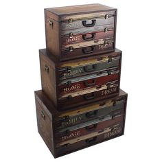 Wooden trunks 'suitcases' www.inart.com