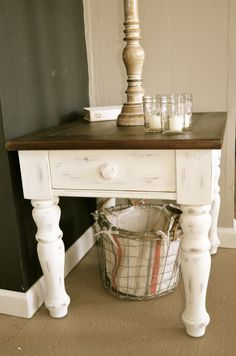 """Distressed antique white nightstand (set of two) by Analia Pastori Available at """"The Workshop"""" is  located at 4060 Morena Blvd. Suite H San Diego, CA"""
