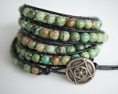 | African Turquoise and Green Opal Wrap Bracelet | Bellissimo Jewelry on ...