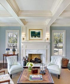 light-blue-walls-and-fancy-coffered-ceiling.jpg pixels light-blue-walls-and-fancy-coffered-ceiling. Fireplace Surrounds, Fireplace Design, Fireplace Mantels, Fireplaces, Fireplace Trim, White Fireplace, Fireplace Wall, Fireplace Windows, Mantle