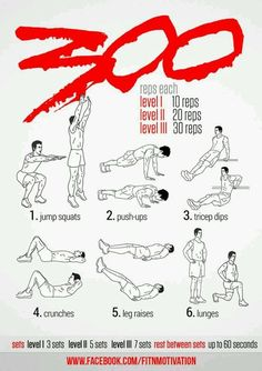 1 - 300 Workout this will be ambitious! 1 - 300 Workout this will be ambitious! 300 Workout, Spartan Workout, Gym Workout Tips, Ab Workout At Home, At Home Workouts, Workout Shirts, Easy Daily Workouts, Workout Bodyweight, Warrior Workout