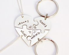 #Hand #engraved #heart #puzzle #necklace/keychain combo, shaped like a heart - perfect for 4 people, friendship, BFF, four, 4 pieces by InspiredByBronx on Etsy https://www.etsy.com/listing/484778319/hand-engraved-heart-puzzle