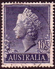 Australia 1955 SG 282 Queens Head Bas Relief Used SG 282 Scott 279 Other Australian Stamps HERE