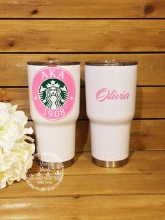 Starbucks AKA Sorority Tumbler This tumbler is 30 oz. These tumblers are perfect for keeping your drink hot up to 6 hours and cold up to 24 hours!!! They are great! It is recommended that you only handwash this tumbler in order to keep the vinyl in pristine condition. The lettering on