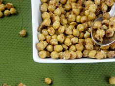 Garlic Parmesan Roasted Chickpeas.     SUPER tasty and was such a healthy snack to keep around the house. I like 'em really crispy, though, with no mush left inside. Shake them often, so they bake evenly (my first batch burned on the bottom).
