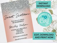 Rose Gold Glitter Confetti Sparkle Sweet 16 Invitation #102 | Digital INSTANT DOWNLOAD Editable Invite | Personalized | Sixteenth Birthday by PurplePaperGraphics on Etsy Sweet 16 Invitations, Birthday Invitations, Gold Birthday, Surprise Birthday, Sixteenth Birthday, Man Party, Sweet 16 Parties, Glitter Confetti, Gold Glitter