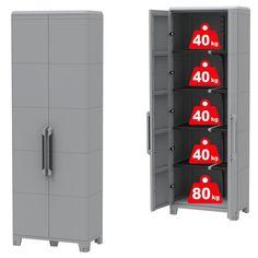 Velmi vysoká, bytelná a nejvíce variabilní skříň z plastu od značky TERRY. Dvoudveřová voděodolná skříň Transforming MODULAR s UV ochranou je ideální pro venkovní využití. Vyznačuje se vysokou pevností, odolností, variabilitou a kvalitou. Lockers, Locker Storage, Cabinet, Furniture, Home Decor, Clothes Stand, Decoration Home, Room Decor, Closet