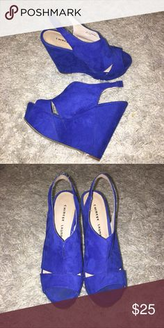 Electric Blue Wedges (Chinese Laundry) Comfy and cool electric blue wedges ⚡️⚡️can dress up or can dress down! Only worn a few times Chinese Laundry Shoes Wedges