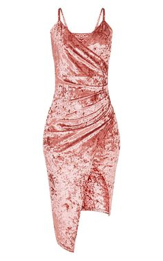 Prina Pink Crushed Velvet Strappy Wrap Over Midi Dress Image 3