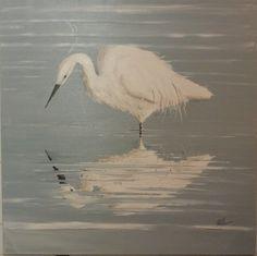 Tableau oiseau chasse blanche peinture animali re sur - Peinture lin naturel ...