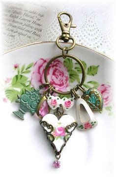 Vintage Guilloche Enamel Rose Necklace Key Chain Ring Purse Zipper Pull Mosaic Rose Heart Filigree Puffy Heart