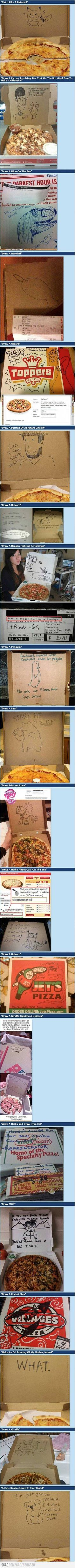 Extra requests with pizza orders means awesome drawings done by witty employees.