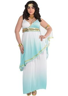 Look so heavenly in our Greek goddess costume, featuring a full-length dress with a faux wrap neckline, empire waist, gold trim, and beautiful blue ombre effect.