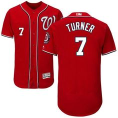 8dc814788c3 Nationals  7 Trea Turner Red Flexbase Authentic Collection Stitched MLB  Jersey