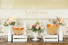 Sangria drink station - photo by Amalie Orrange Photography http://ruffledblog.com/sangria-inspired-wedding-ideas