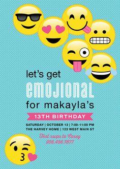 Tween Birthday Emoji Birthday Invitation by DelightPaperie on Etsy