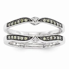 NEW 14K WHITE GOLD CHAMPAGNE WHITE DIAMOND RING DUAL WRAP GUARD ENHANCER .25 CT #WithDiamonds