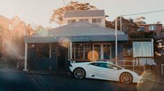 The Lamborghini Huracán in front od The Blue Swimmer Restaurant, Gerroa, NSW