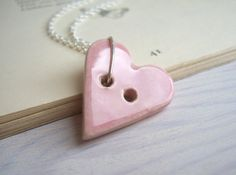 Cute as a Button necklace - pink ceramic heart button on silver - handmade on Etsy, £12.92