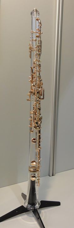 "synthesis-music: "" ""Glass"" oboe made of clear acrylic, with gold-plated keys. Photographed at Musikmesse 2011. """