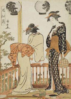 """Two Women on a Balcony""  Woodblock print, 1781, Japan, by artist Torii Kiyonaga"