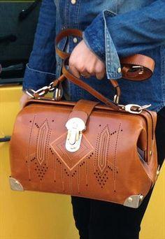Vintage Doctor Bag Carved