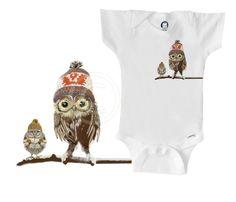 Organic owl onesie / bodysuit / creeper, owls wearing Cowichan knits by BoogalooBubbywear on Etsy https://www.etsy.com/listing/222926740/organic-owl-onesie-bodysuit-creeper-owls