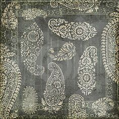 Antique grungy vintage paisley indian background design.