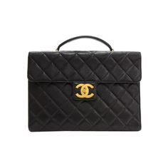 Pre-Owned Vintage Chanel Black Caviar Quilted Leather Large Briefcase... ($2,499) ❤ liked on Polyvore featuring bags, briefcases and black