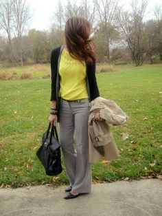 love the light gray pants with a bright shirt....her blog is SO inspiring!!
