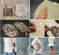 Do it yourself Sequin Elbow Patches - akkidokie