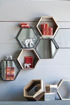 Honeycomb Shadowbox Shelves - 60 Creative Bookshelf Ideas  <3 <3