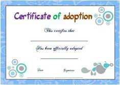 Adoption Certificate Blank