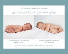 Twin Birth Announcement by Leveret Paperie