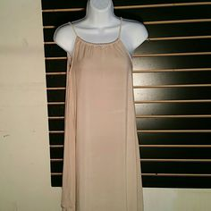 Tan Dress This Dress is 100% Rayon with Rope over shoulder that ties in the back.  Evening Dress Perfect. Everything is New Never Worn. Diamante  Dresses Maxi