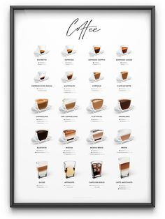 timeless coffee poster for coffee lovers and caffeine addicts.A timeless coffee poster for coffee lovers and caffeine addicts. Coffee Shop Menu, Coffee Shop Design, Different Coffee Drinks, Different Coffees, Coffee Chart, Coffee Types Chart, Menue Design, Cafe Menu Design, Drink Menu Design