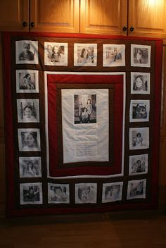 Photo Memory Quilts Quilting Projects, Quilting Designs, Sewing Projects, Quilting Ideas, Memory Pillows, Memory Quilts, Family Tree Quilt, Photo Quilts, Photo Blanket