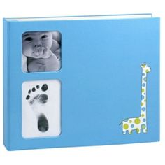 Babyprints Baby Book in Blue Giraffe: A Baby Book with Babys Handprint on the Baby Book Cover | Pearhead Baby Gifts