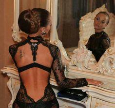 Black lace. Formal dress