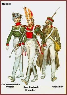 Russian Grenadiers 1812, (artist unknown). Help eliminate poor pinning! If you know the artist and can supply a link, please update this pin. Thank you!