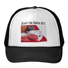 $17.50 - Poker Nite Hats - A royal flush in spades, surrounded by red, white, and black poker chips on a red bandana.