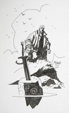Original Comic Art:Sketches, Mike Mignola Hellboy Sketch Original Art (c. 2001).... Image #1